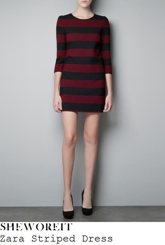 Zara black and red striped dress