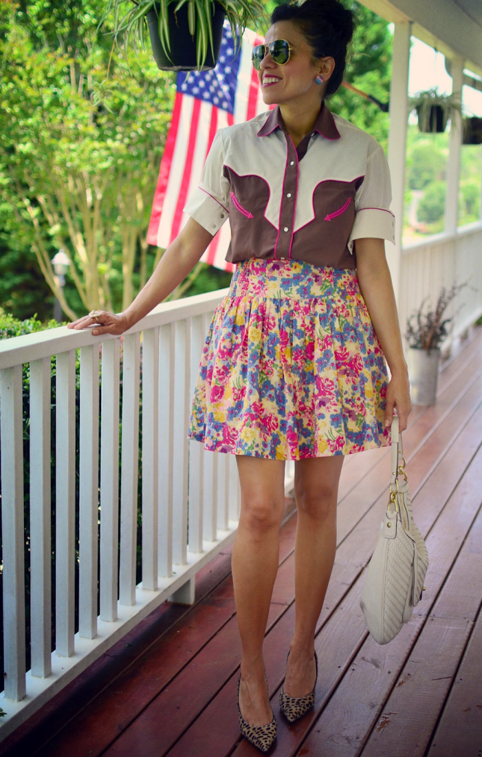 FLORAL SKIRT COWBOY SHIRT OUTFIT