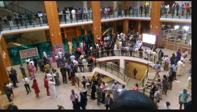 Nigerians at the National Assembly lobby
