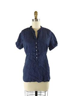 Linen polka dot blouse