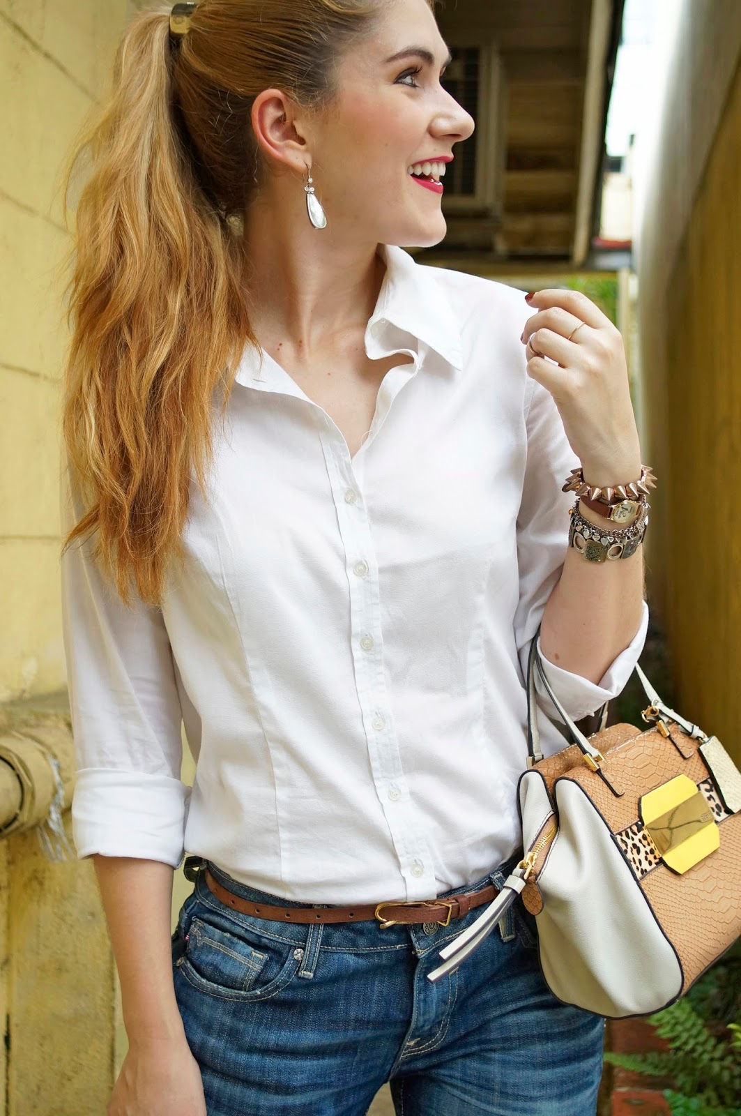 White Collar Shirt Outfit