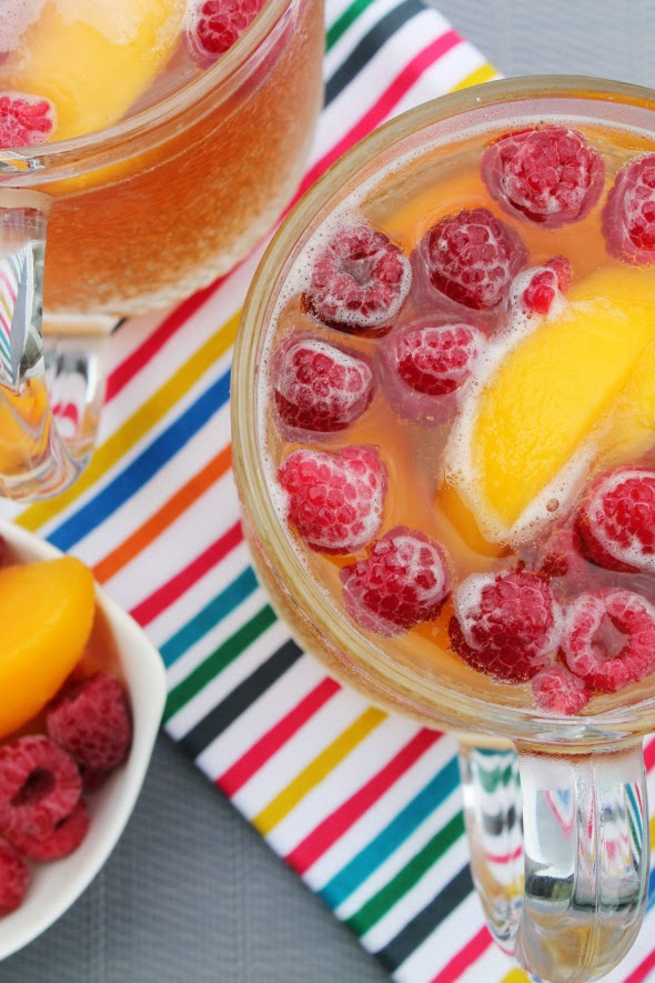 Peach Raspberry Beer - Perfect summer drink with just a few ingredients! | WhatchaMakinNow.com