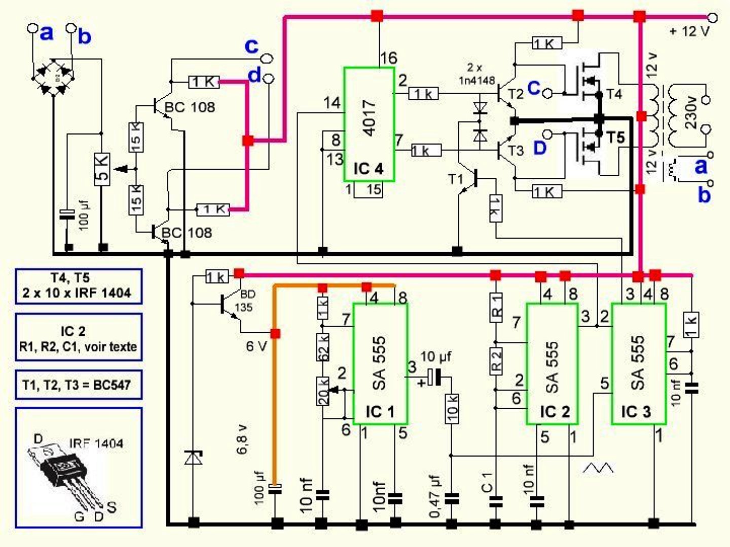 300 watts pwm controlled, pure sine wave inverter circuit with, Circuit diagram