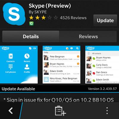 Skype para BlackBerry 10 ha sido actualizado en BlackBerry World, esta actualización corrige el error con el sesión en el BlackBerry Q5/Q10 con OS 10.2. Es bueno ver que este se está trabajando antes de la publicación oficial de 10.2, Aquellos de que tengan un OS filtrado 10.2 utilizando los dispositivos mencionados anteriormente ahora pueden disfrutar de Skype otra vez. Obtén la actualización de Skype a través de BlackBerry World Fuente:mundoberry