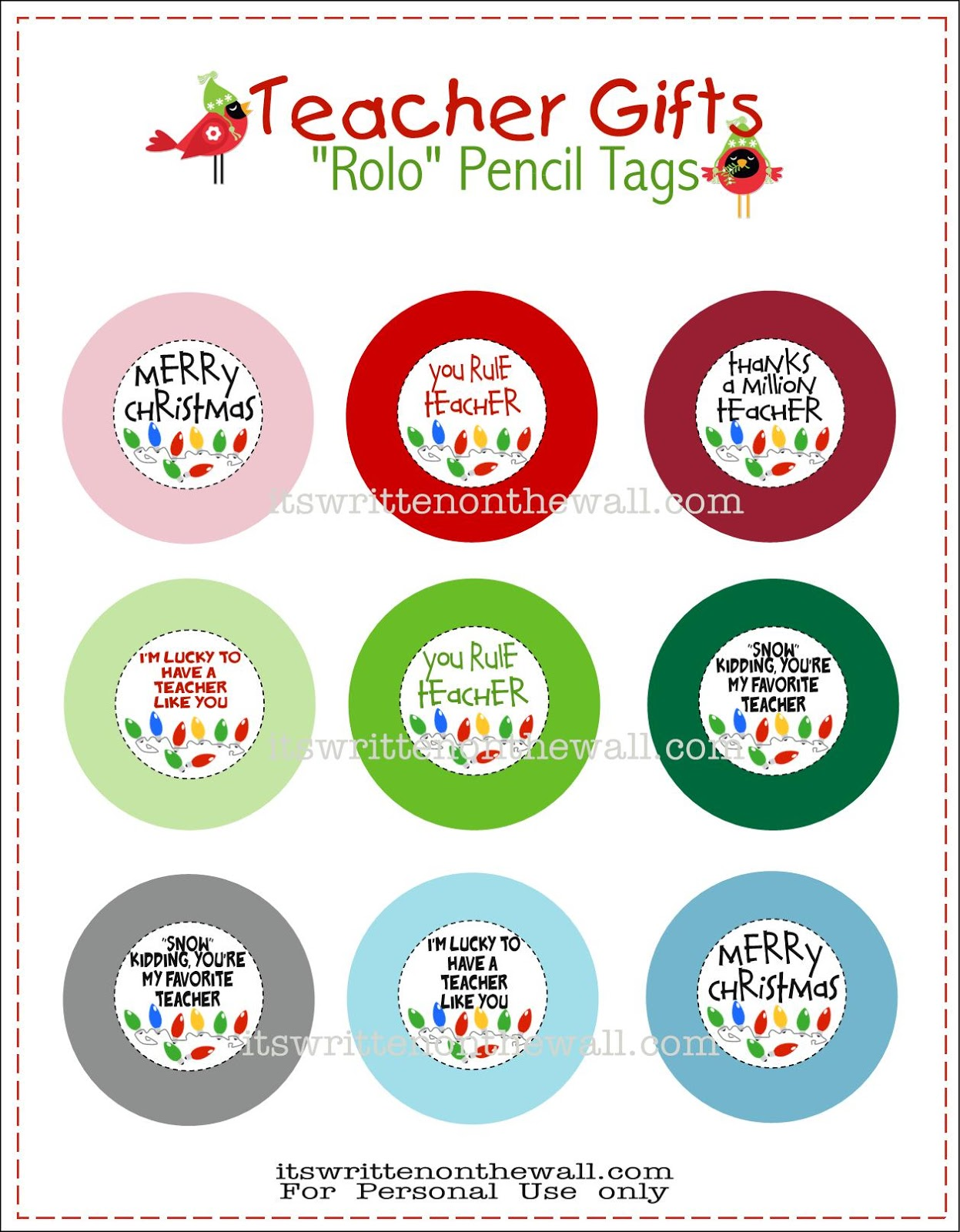 freebie teacher christmas gift rolo pencils w tags pinnutty com
