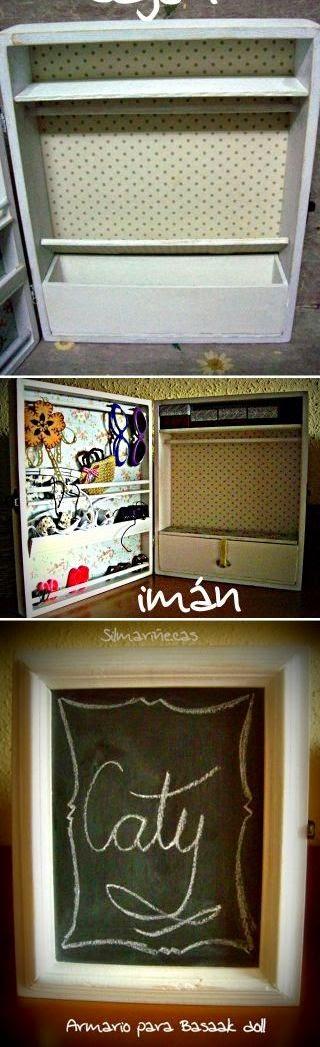 cómo hacer un armario para muñecas con una caja de madera
