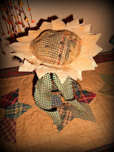 PRIMITIVE STYLE WOOL & FELT SUNFLOWER NODDER