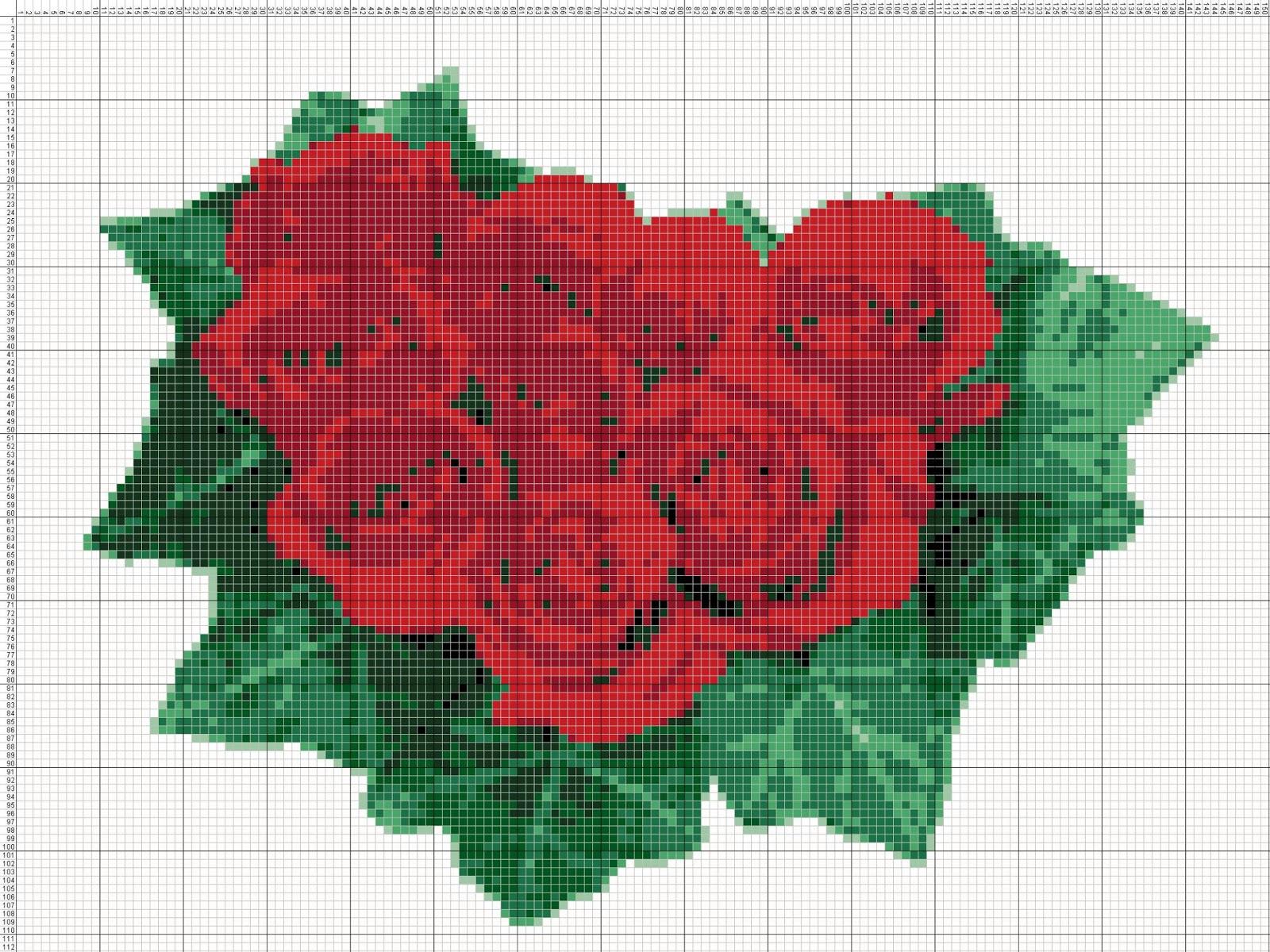 Gambar Pola Kristik Rangkaian Bunga Mawar Merah
