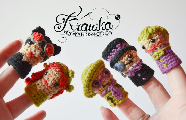 Krawka: Set of crochet finger puppets -  super Villains from Batman: Catwomen, Poison Ivy, Penguin, Riddler, Joker