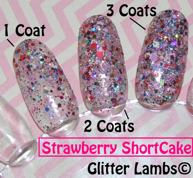 "Glitter Lambs ""Strawberry ShortCake""  Glitter Nail Polish"