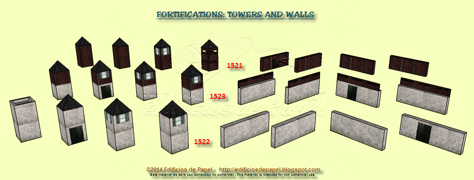 Three different sets of towers and walls