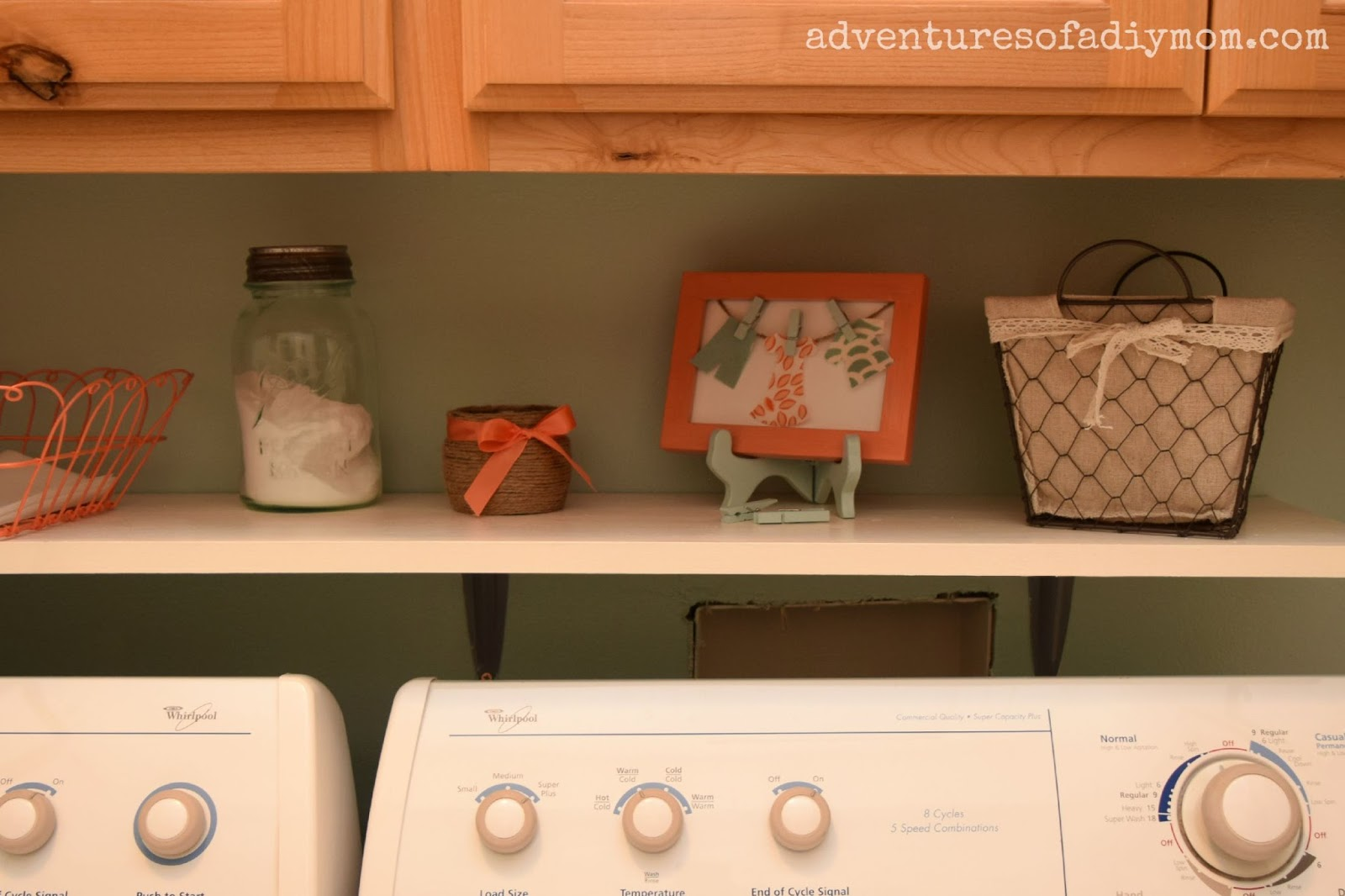 easy diy shelf over the washer laundry room makeover. Black Bedroom Furniture Sets. Home Design Ideas