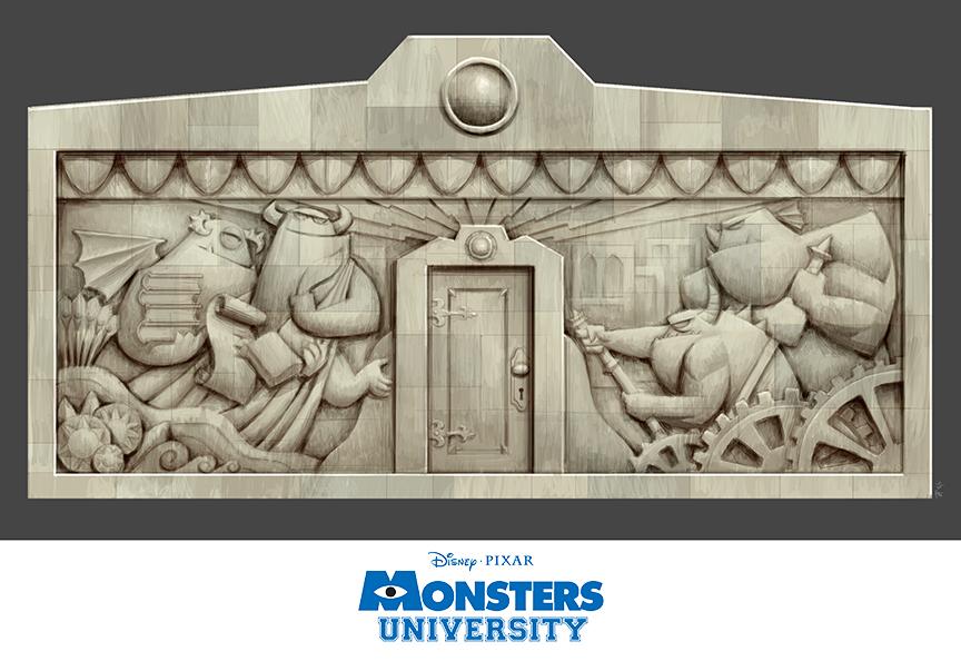 Pixar brasil blog universidade monstros mais artes for Bas relief mural