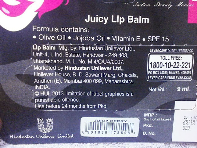 Elle 18 Juicy Lip Balm in Juicy Berry Pictures, Review and swatch
