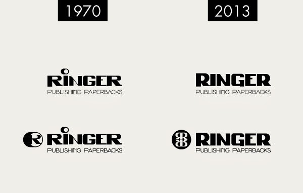 Ringer Publishing Paperbacks - Logo Design 1970 & 2013 - Curio & Co. www.curioandco.com - Design by Cesare Asaro