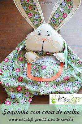Páscoa: Saquinho com cara de coelho