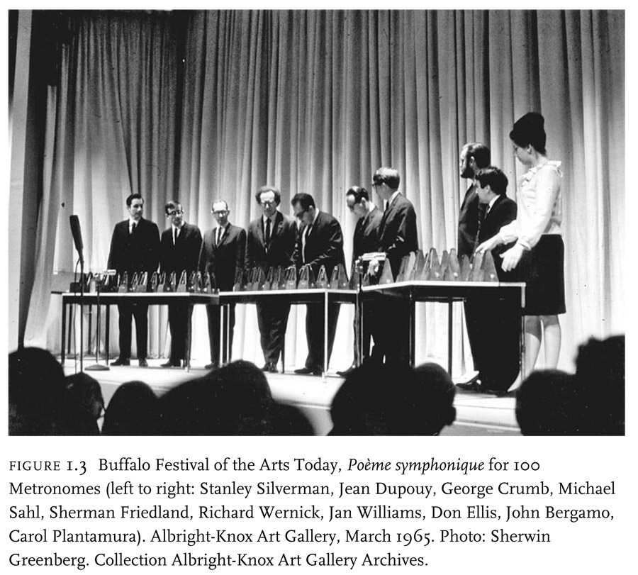 Figure 1.3 Buffalo Festival of the Arts Today, Poeme symphonique for 100 metronomes (left to right: Stanley Silverman, Jean Dupouy, George Crumb, Michael Sahl, Sherman Friedland, Richard Wernick, Jan Williams, Don Ellis, John Bergamo, Carol Plantamura).  Albright-Knox Art Gallery, March 1965.