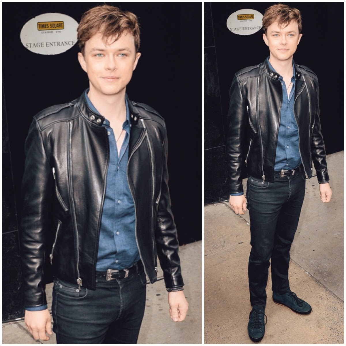 Dane DeHaan in Saint Laurent leather jacket- New York Street Style