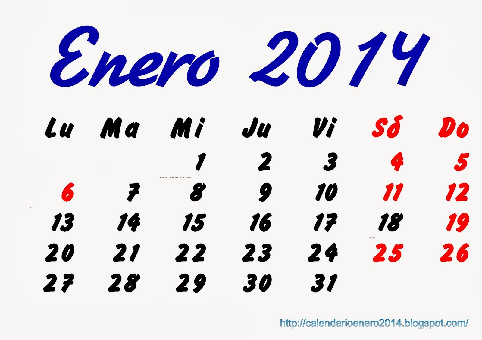 Calendario 2014 Gratis En Formato Word, PDF, Excel - Calendario Para ...