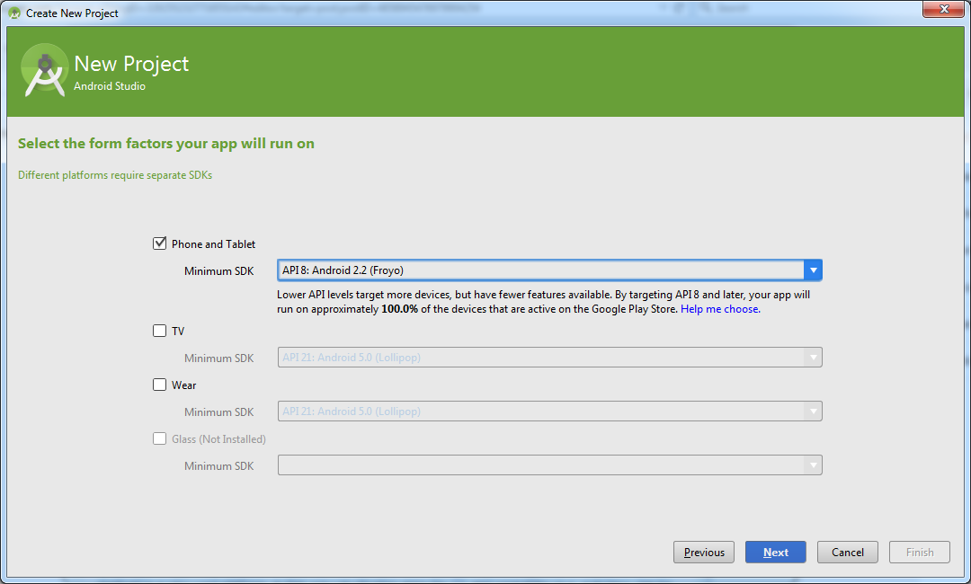 Android Studio Select API Version Dialog