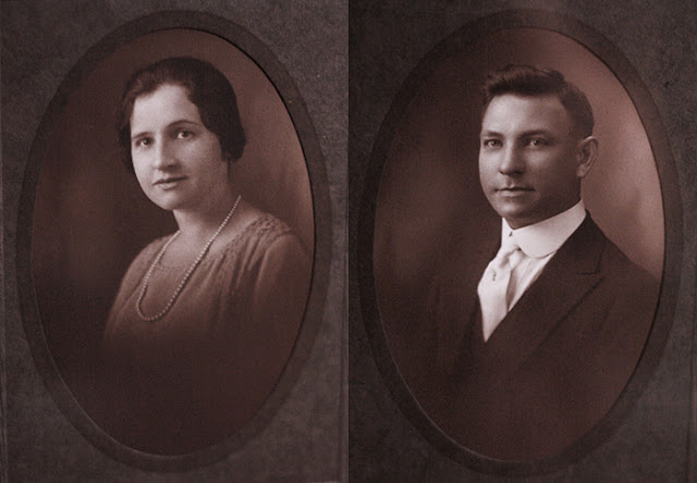 Sepia toned portraits of a 1920s couple