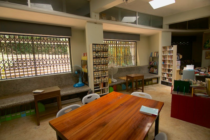 The small library with many great Buddhist books and pamphlets at Wat Suan Mokkh Theravada Buddhist temple in the southern province of Chaiya, Thailand.