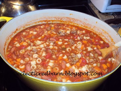 Eclectic Red Barn: Pasta E Fagioli Soup Cooking