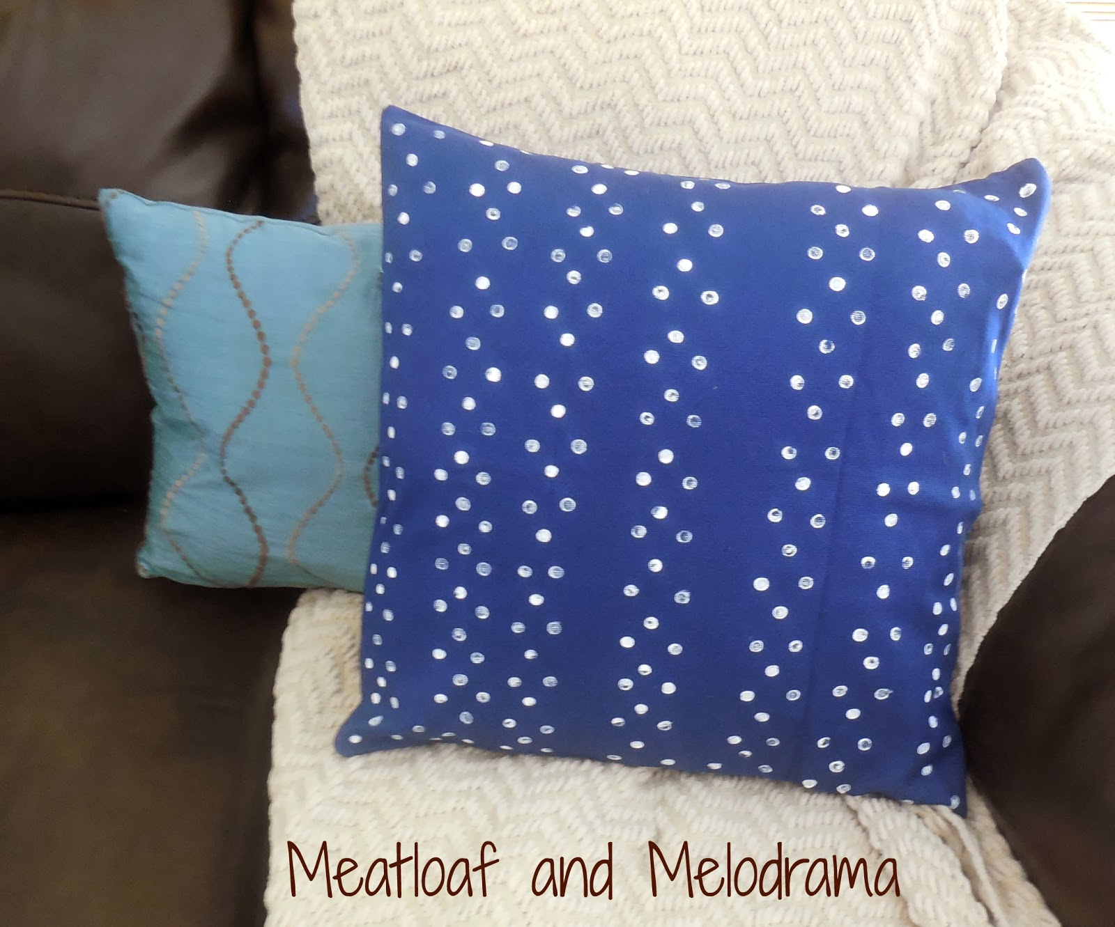 blue and white polka dot pillow, paint
