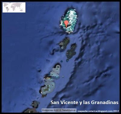 Mapa de San Vicente y las Granadinas , Vista Satelital