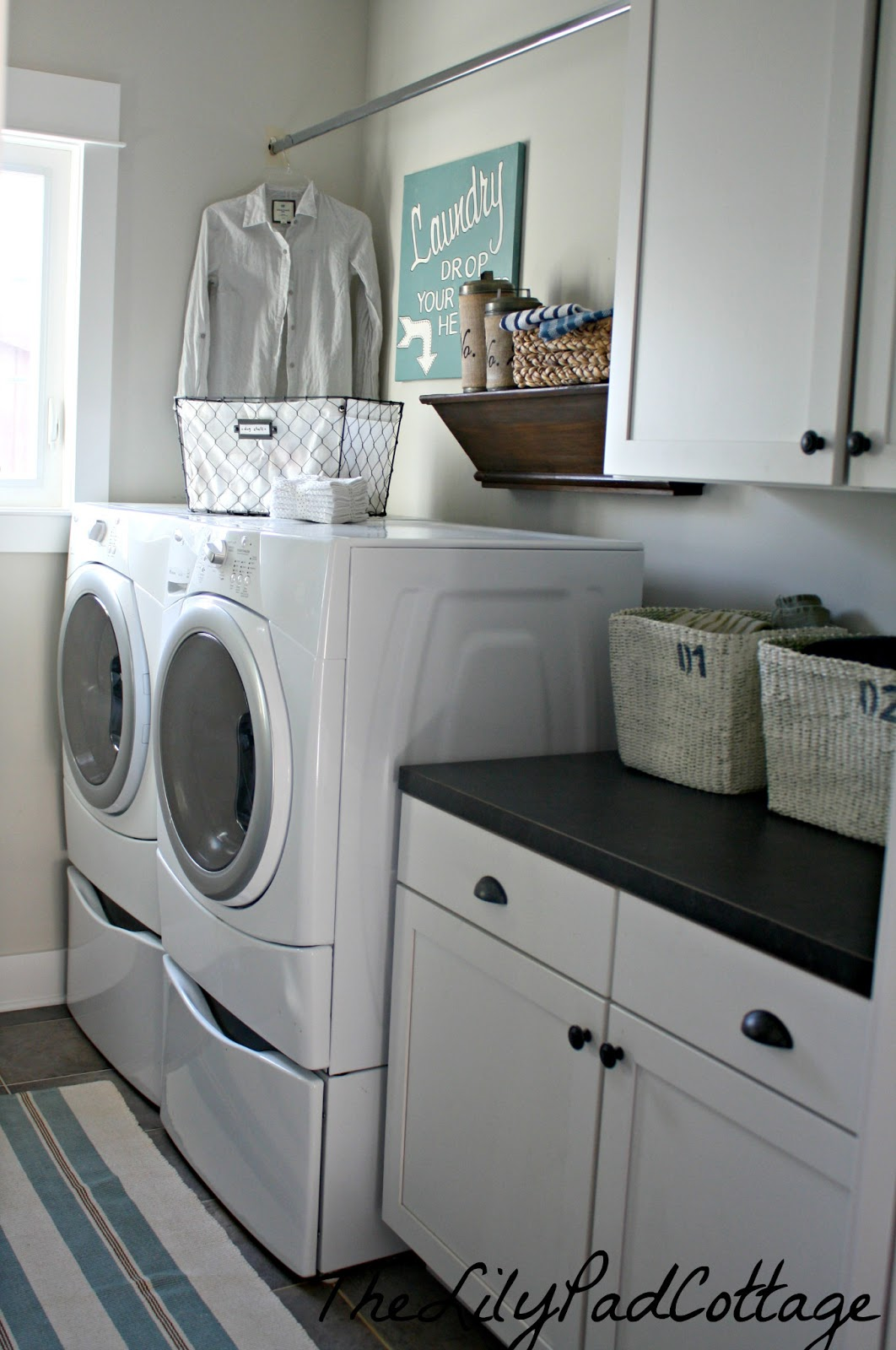 Laundry room reveal the lilypad cottage - Laundry room small space ideas paint ...