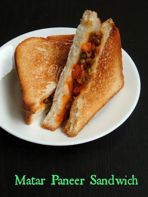 Matar paneer sandwich, peas paneer sandwich