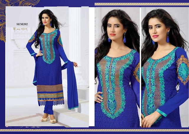 Semi Stitched Pakistani Style Salwar Kameez Suit