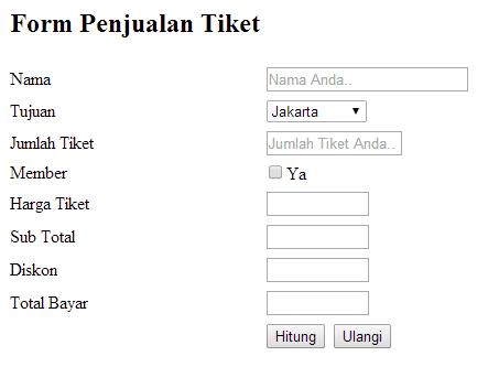 Form Penjualan Tiket dengan JavaScript