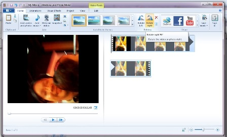 Windows movie maker fix to rotate video carlbytes in the editing ribbon area click rotate left or rotate right until your video is properly rotated ccuart Choice Image