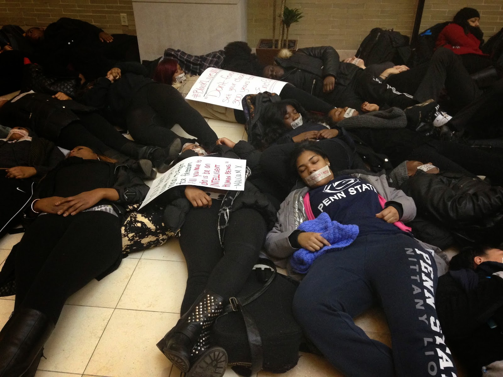 student protest, PSU library, die in