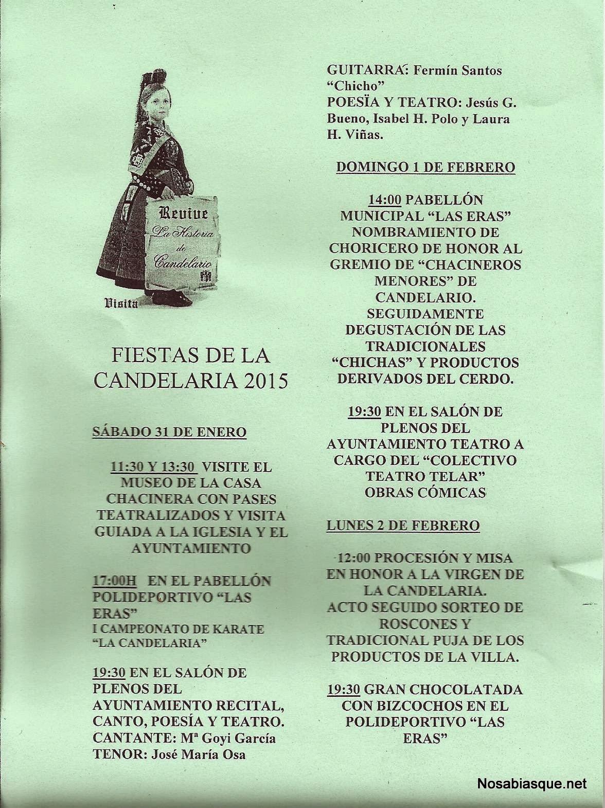 Cartel de las fiestas de la Candelaria 2015, en Candelario Salamanca