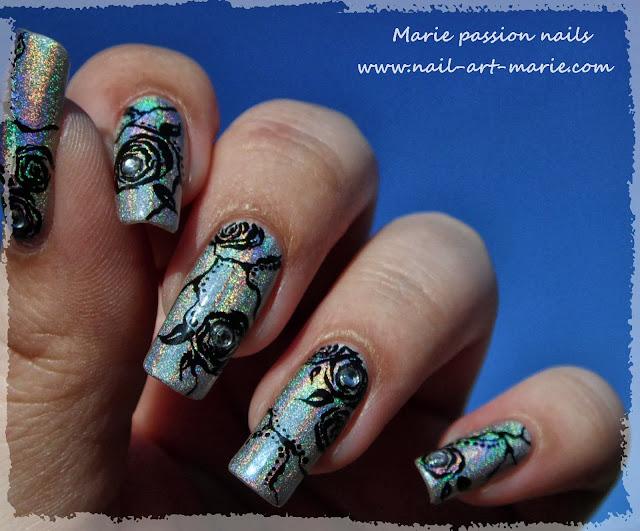 Nail Art Roses noires2