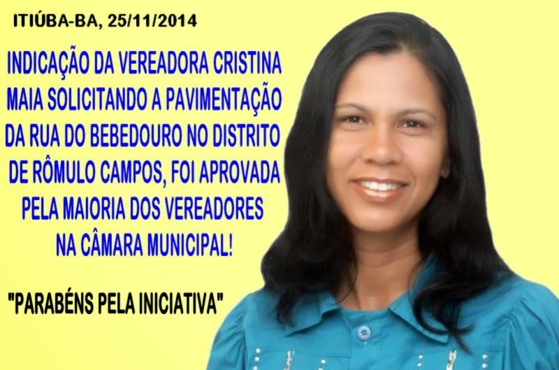 COLUNA DA MARY FERREYRA: INDICAÇÃO DA VEREADORA CRISTINA MAIA (PDT) PEDINDO O CALÇAMENTO DA RUA DO BEBEDOURO EM RÔMULO CAMPOS, FOI APROVADA POR UNANIMIDADE ONTEM A NOITE 25/11 NA CÂMARA MUNICIPAL
