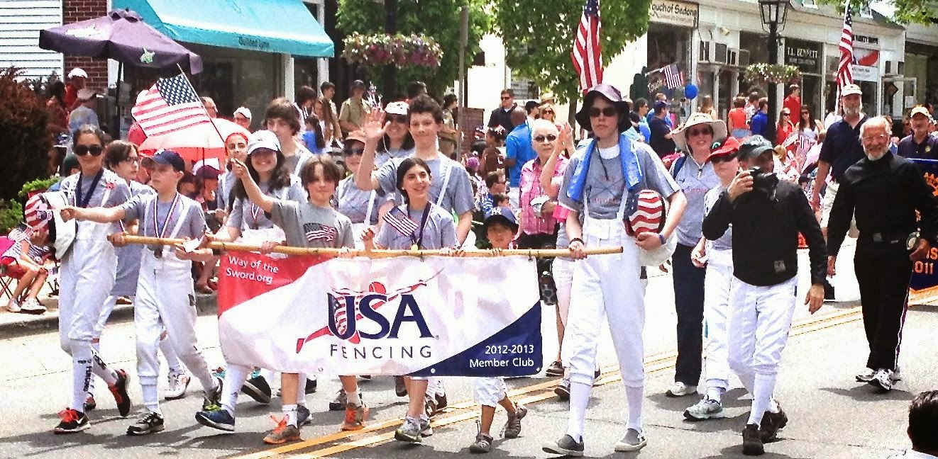 fencers marching in parade: simplelivingeating.com