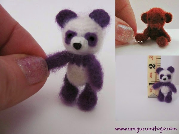 Micro Amigurumi Animal Patterns : Miniature Purple Panda Crochet Thread Pattern ~ Amigurumi ...