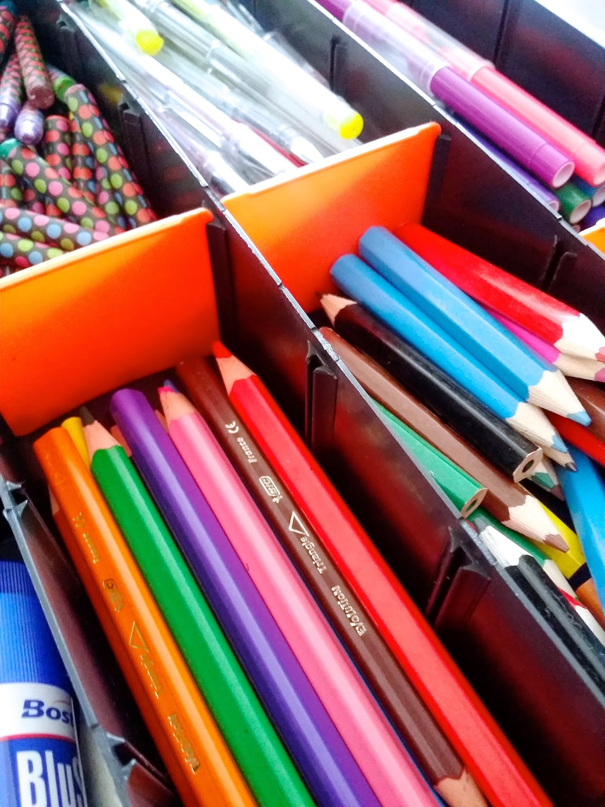 A great idea to store and organise your craft supplies is to use a tool box or a tackle box. They are significantly cheaper and often come with little inserts that allow you to customise the dimensions of each compartment. We use a small tool box to store the array of pens, pencils and crayons we have.
