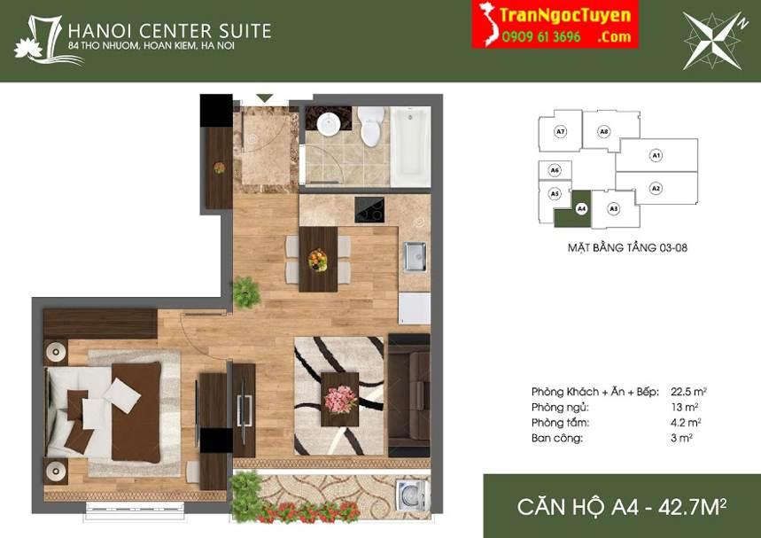 Thiết kế căn hộ A4 84 Thợ Nhuộm