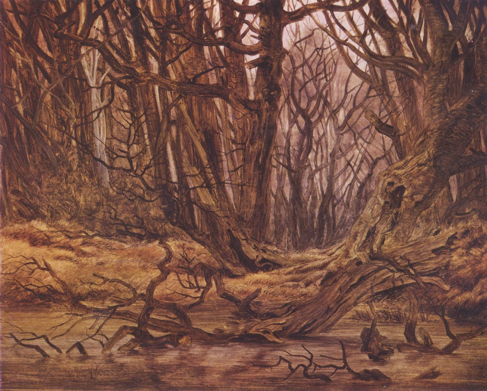 """Forrest in the late autumn"" Casper David Friedrich, autumn woods painting, creepy"
