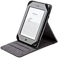 Amazon Black Leather Kindle Cover with Fully Adjustable Stand