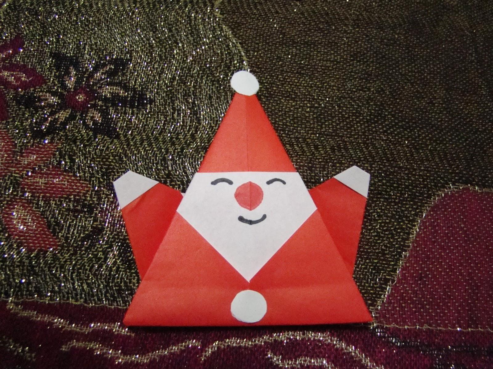 Origami maniacs origami santa claus 2 for Make origami santa claus
