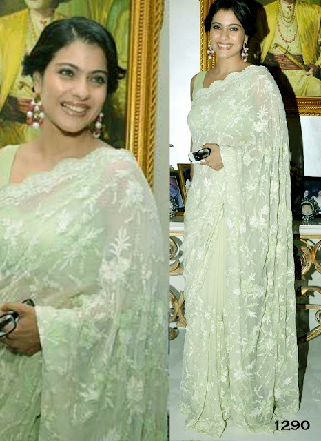 Bollywood Actress Kojol Green Saree Collection
