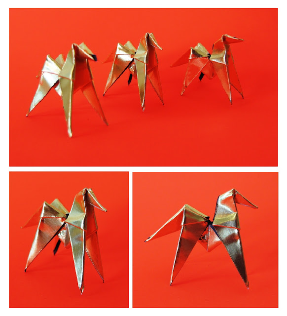 Gold Origami horses for earrings  - made by Keri Muller (simpleintrigue.com)