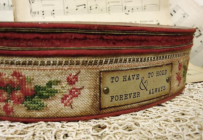vintage box, cross stitch embroidery