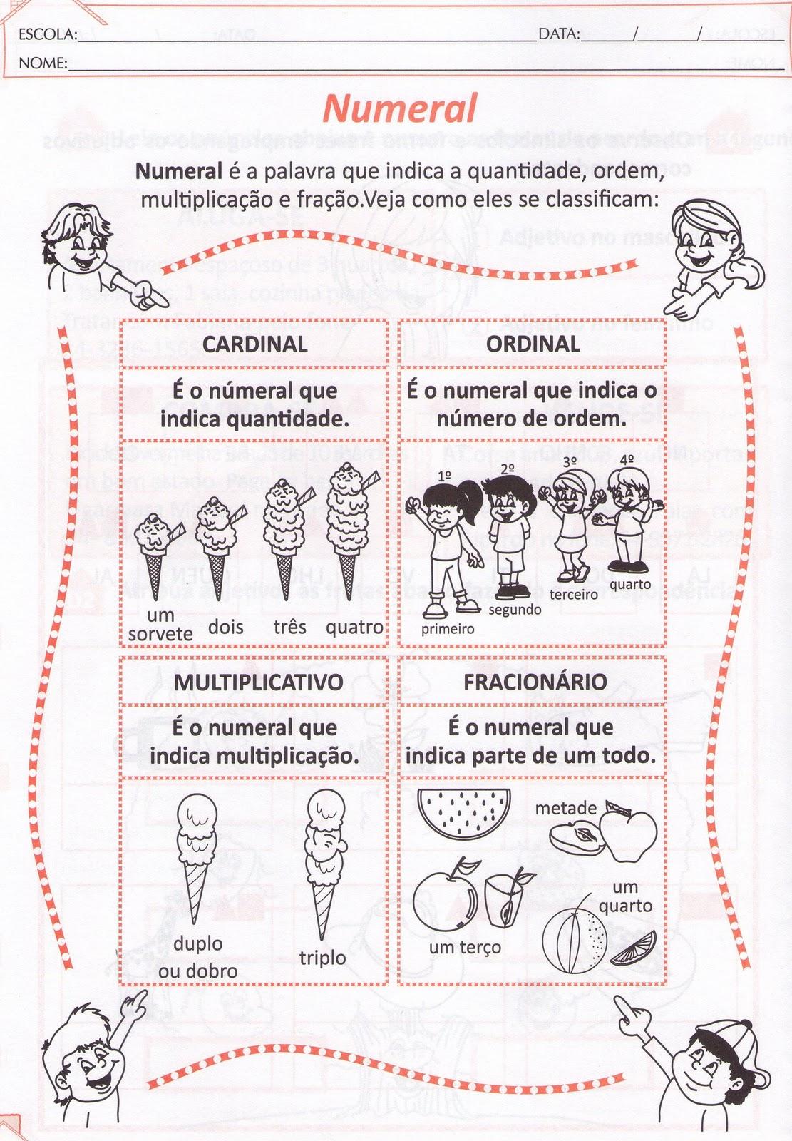 Populares Blog Professor Zezinho : Números Cardinais,ordinais  WU71