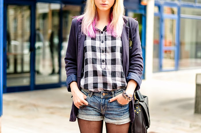 college blazer H&M jeans shorts checkered shirt